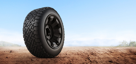 3d rendering Car tires on background.