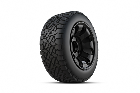 3d rendering Car tires on white background. Stock Photo