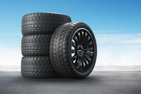 Representación 3D Neumáticos de coche en el fondo de la carretera.