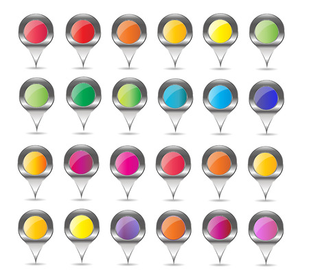 saved: 24 map pin sign glossy web button. This vector illustration internet design element saved 10 eps