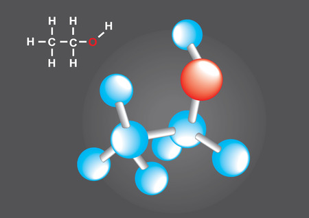 Atomic structure on dark gray background, vector illustration