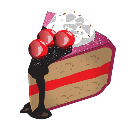 strawberry cake: Strawberry cake with Cherry and bit of the almond nut, Vector Illustration
