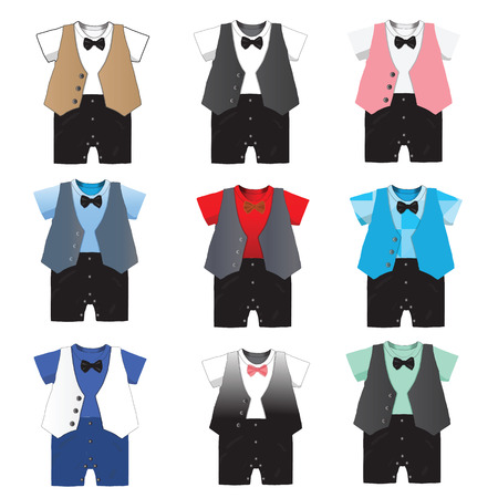 formal party: Baby boy formal wear Wedding Party with bow tie ,Vector illustration.