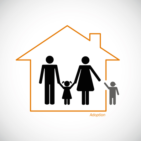 family adopt a young boy into family vector illustration