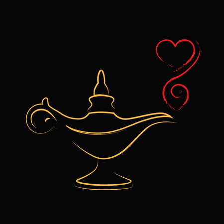 golden magic aladin miracle lamp love vector illustration