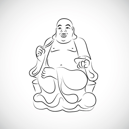 big Thai Buddha Statue drawing vector illustration Vetores