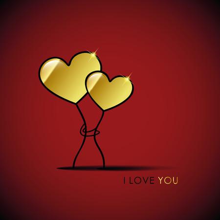 zwei goldene Herzen ich liebe dich Vektorillustration