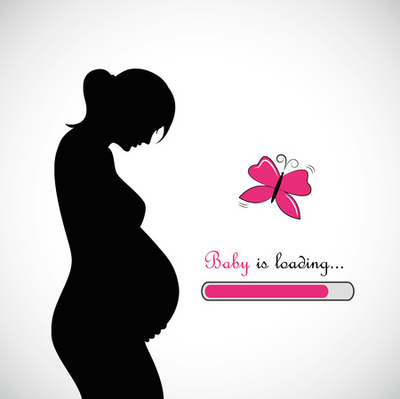 pregnant woman baby girl is loading vector illustration Ilustracja