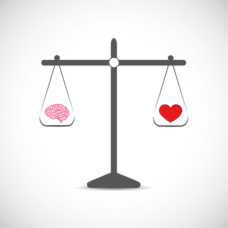brain and hearth in balance vector illustration