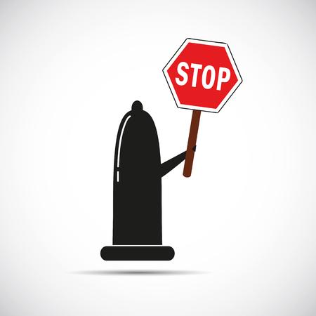 condom red warning sing stop vector illustration Ilustrace