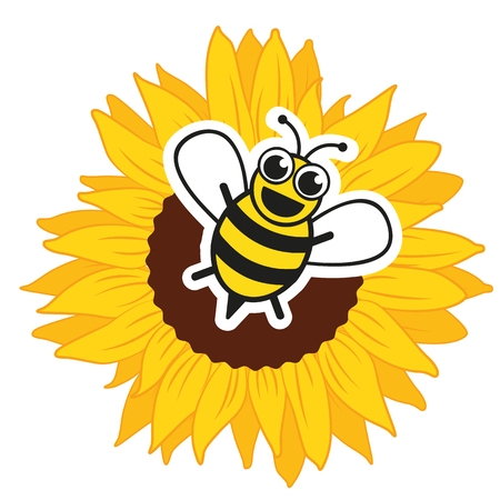 Stylized happy bee and sunflower vector illustration