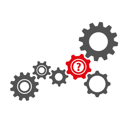 gears with question business symbol teamwork vector illustration EPS10