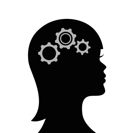 woman with gears in the head business symbol teamwork vector illustration EPS10  イラスト・ベクター素材