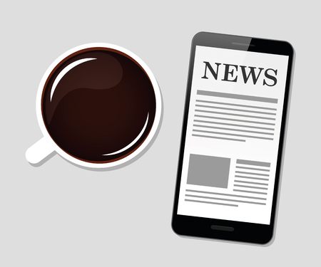 good morning black coffee and news vector illustration EPS10 Banque d'images - 112085357