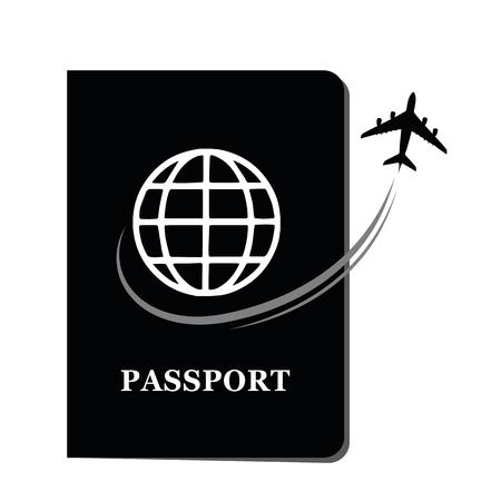 黒パスポート文書エアプレーンベクトルイラストEPS10