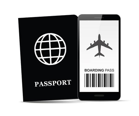 デジタルベーディングパスパスポート文書ベクトルイラストEPS10