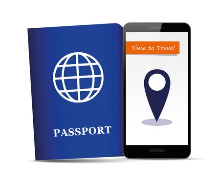 携帯電話のベクトルイラストEPS10にパスポート文書旅行先