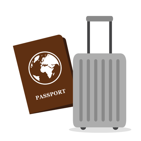 パスポート文書と荷物ベクトルイラストEPS10