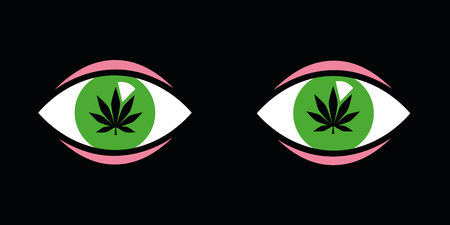 green eyes with cannabis leaves inside vector illustration EPS10 Vectores