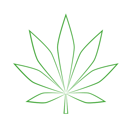 green cannabis leaf simple drawing vector illustration EPS10
