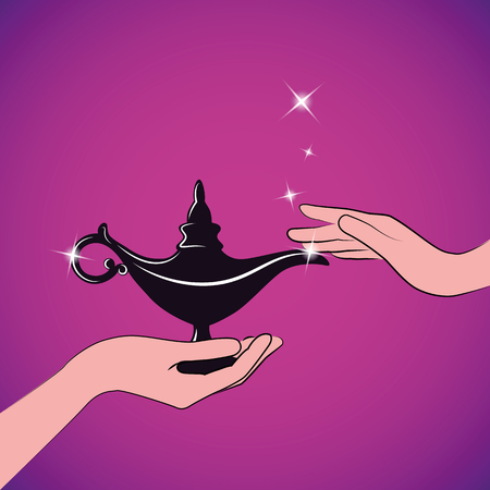 womans hands hold a magic aladdin miracle lamp vector illustration EPS10