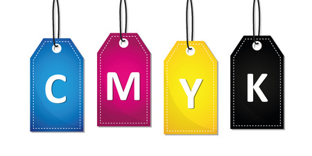 CMYK text label primary colors print vector illustration EPS10
