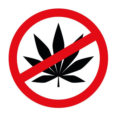 cannabis forbidden red sing vector illustration EPS10