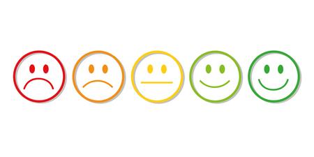 Clasificación de caras sonrientes de rojo a verde ilustración vectorial EPS10 Ilustración de vector