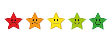 Estrellas de calificación retroalimentación rojo a verde ilustración vectorial EPS10