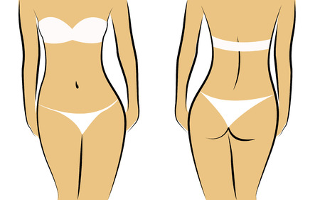 Beautiful and fit female body front and back vector illustration EPS10