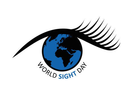 World sight day earth in a blue eye vector illustration EPS10 Ilustracja