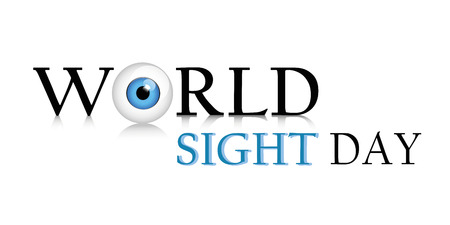 World sight day text blue eye vector illustration EPS10