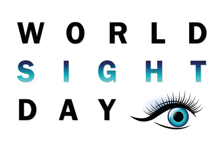 World sight day typography blue eye vector illustration EPS10 Ilustracja