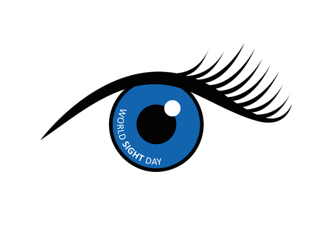 World sight day written in blue eye vector illustration EPS10 Ilustracja