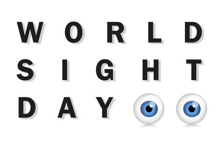 World sight day typography blue eyes vector illustration EPS10