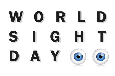 World sight day typography blue eyes vector illustration EPS10 Zdjęcie Seryjne - 112032597