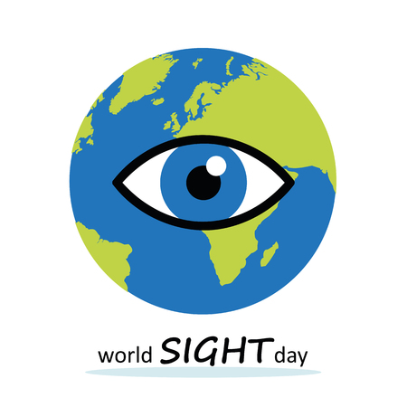 World sight day blue eye earth vector illustration EPS10 Ilustração
