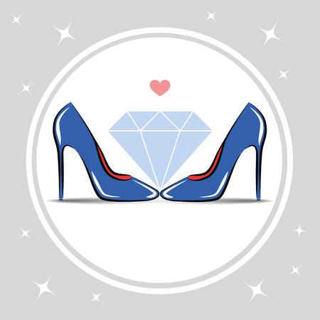 womens shoes high heel fashion diamond vector illustration EPS10