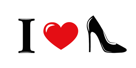 I love red high heels fashion vector illustration EPS10