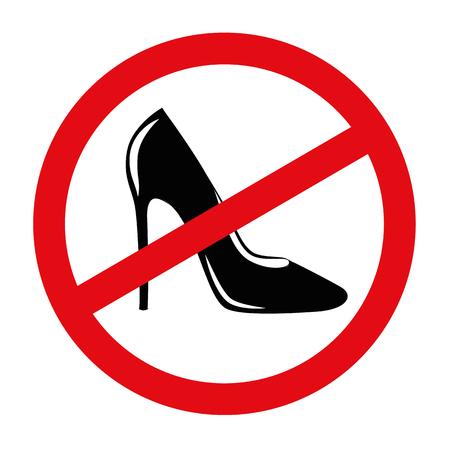 high heels forbidden red sing vector illustration EPS10 Illustration