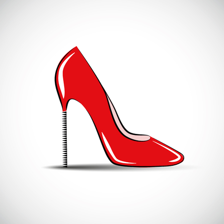 red high womens shoe high heel fashion vector illustration EPS10