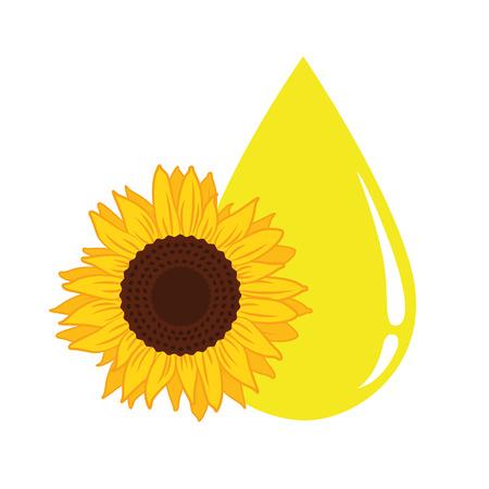 Ilustración de vector de gota amarilla grande de aceite de girasol EPS10