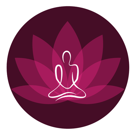drawing yoga person sitting in a lotus pose meditation vector illustration EPS10 Vektorové ilustrace