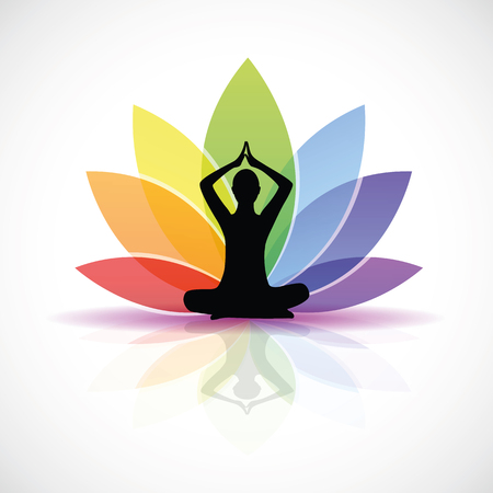 yoga person sitting in a lotus pose rainbow colors vector illustration EPS10