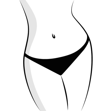 Beautiful and fit female body black and white vector illustration EPS10