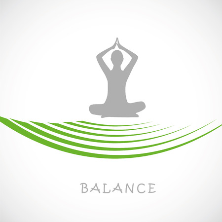 Yoga person sitting in a lotus pose balance vector illustration EPS10