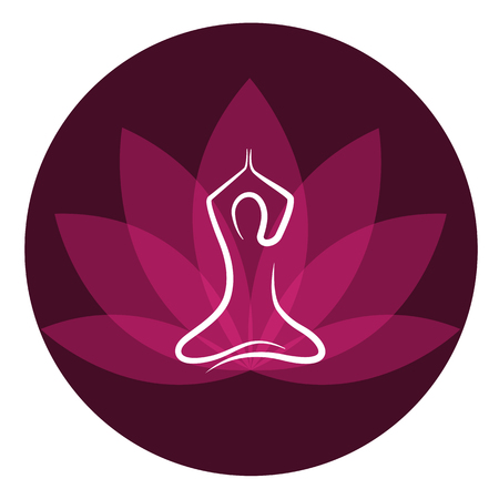 drawing yoga person sitting in a lotus pose meditation vector illustration EPS10