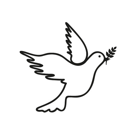 dove black and white drawing vector illustration EPS10