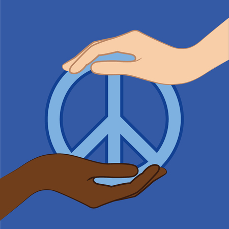 Mano blanca y negra mantenga el símbolo de la paz azul ilustración vectorial EPS10 Ilustración de vector