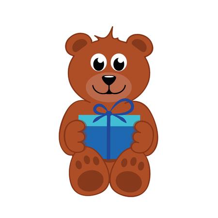 brown teddy bear with blue gift vector illustration EPS10 Ilustração